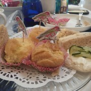 Choux pastry filled with chicken salad.  Heavenly.